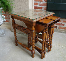 SET  3 Antique French Carved Oak BARLEY TWIST Nesting Table Coffee End Square