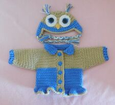American Girl Doll Clothes DBlue Owl Sweater Hat Fits Bitty Baby/Berenguer 15-17