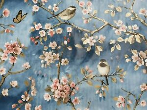GOLD WINTER BLUE BLOSSOM BIRDS BUTTERFLY PINK FLOWERS PVC OIL VINYL TABLE CLOTH