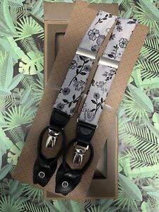Trafalgar Men's Adjustable Button End Suspenders Black Gray Floral OSFM NIB