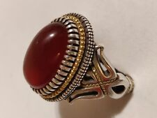 Persian Yemeni agate ring, Red yemen agate aqeeq ring, Aqiq, Silver & Gold ring