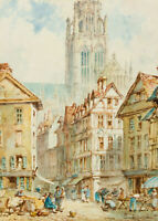 Piere le Boeuf - Early 20th Century Watercolour, Street Scene by Rouen Cathedral