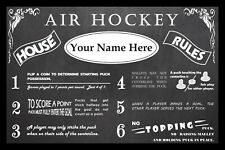 PERSONALIZED VINTAGE CHALKBOARD LOOK AIR HOCKEY HOUSE RULES POSTER - FRAMED