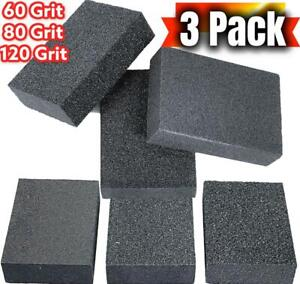 3 x FOAM SANDING BLOCK WET/DRY SCOURER GRIT SANDPAPER SPONGE CLEANING PADS