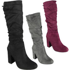 Womens Ladies Mid Calf Faux Suede Winter Zip High Heel Rouched Casual Boots Size
