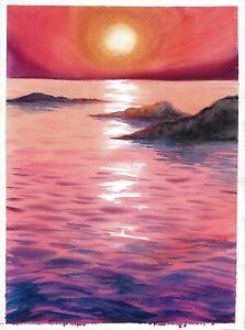 original painting 28 x 38 cm 133PO art samovar watercolor seascape sunset