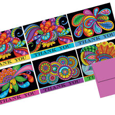 72 Thank You Note Cards - Paisley Floral Thank You  - Plum Purple Envs