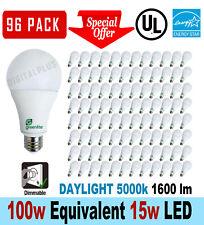96 LED Light Bulbs 15W 100W Equivalent Daylight 5000K A19 Dimmable E26