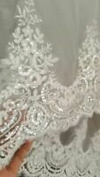 Elegant 3.5 Meter Long Sequins Lace Wedding Veil Cathedral Bridal Veils + comb