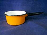 Vintage Yellow Black White Enamelware 1 Quart Small Sauce Pan GUC
