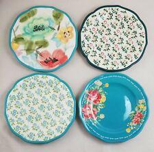 "4 Pioneer Woman Vintage Floral Bloom Fall Flowers 8.75"" Salad / Dessert Plates"