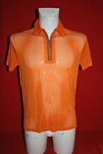 Herren Camping Hemd Shirt Kurzarm 1980er DDR Nylon Orange Netzhemd chemise HW 39