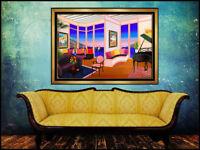 Fanch Ledan Large Original Painting Acrylic On Canvas Signed Interior Degas Art