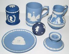 6 WEDGWOOD Blue Jasperware Candle Holder Plate Mug 1977 Royal Jubilee Jar Bundle