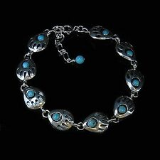 QVC PETITE .925 Sterling Silver Natural Turquoise Bear Paw Bracelet