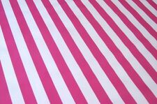 HOT PINK WHITE CABANA STRIPE SUMMER PICNIC DINE OILCLOTH VINYL TABLECLOTH 48x60