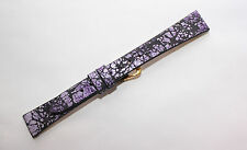 14mm Purple & Black Crackle Leather Flat Watch Strap MADE IN THE USA