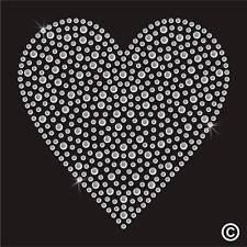 Heart Rhinestone Diamante Transfer Iron On Hotfix Gem Crystal TShirt Motif Patch