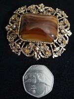 Vintage / Antique Victorian Brass and Scottish Banded Agate Cabochon Brooch