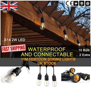 5x 11M Heavy Duty Outdoor String Lights Warm White LED Bulb Festoon Garden Light