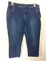 Lane Bryant Women's Plus Size Dark Wash Stretch Denim Capri Jeans - Size 18