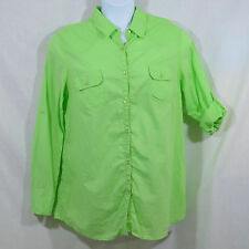 Women's XL, 15-17 No Boundaries Green Long or 3/4 Sleeves Button Down Shirt