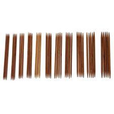 5 Sets von 11 Groessen 5 '' (13cm) Doppelspitz Karbonisierte Bambus Stricknadeln