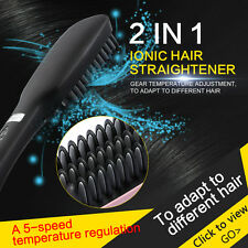Real Ionic Hair Straightener Brush  Electric Straightening Comb LED Temp Control