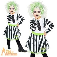 Child Beetlejuice Costume Girls Kids 80s Movie Halloween Fancy Dress Outfit