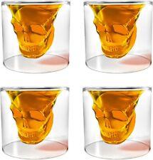 Set of 4 Transparent Crystal Skull Shot Glasses