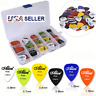 Guitar Picks 1-100 Acoustic Electric Plectrum Mixed Assorted Colors W Case Banjo