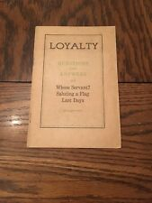 1935 Loyalty Brochure Jehovah's Witnesses Watchtower Rutherford Flag Salute