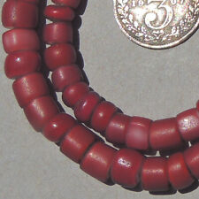 strand old antique venetian cranberry whiteheart beads african trade #1856