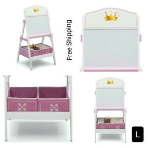 """New, Princess Crown Wooden Activity Easel with Storage, 21""""W x 45""""H x 20.5""""D."""