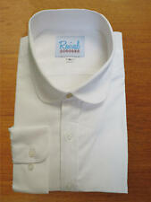 Penny Round Collar 1920s 1930s Peaky Blinders White Shirt with Top Gold Stud
