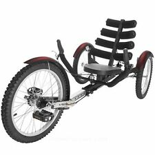 "New Mobo Shift 20"" 3 WHEEL Trike Tricycle RECUMBENT Bike with reverse Black"