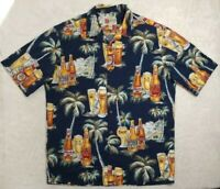 Hilo Hattie L The Hawaiian Original Blue Tropical Palm Tree Beer Shirt Mens EUC.