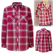New Ladies Anthology Check Cotton Long Tabbed Sleeve Shirt Blouse Plus Siz 16-18