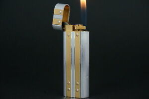 Cartier Lighter Santos Silver & Gold plated Working Vintage  #CL15