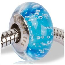Beads and Charms for European Charm Bracelets Lampwork Glass Water Blue Bubbles