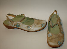 HISPANITAS Distressed Brown Leather Mary Janes 39 8 8.5 Embroidered Flowers
