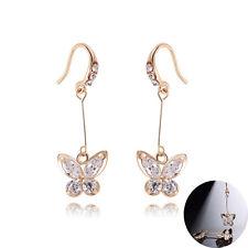 Eleganti Pendenti Farfalle Oro Bianco Lucido Strass Zircone Donna Orecchini E1155