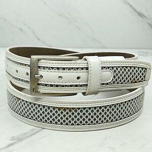 PGA Tour White Genuine Leather Belt Size 40