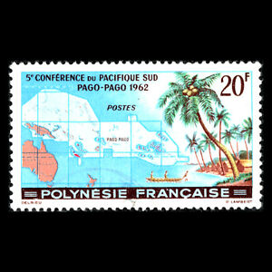 French Polynesia 1962 - South Pacific Conference - Pago Pago Maps - Sc 198 MNH