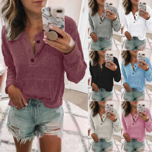 Womens Knitted Buttons Jumper Loose Autumn Ladies Blouse Tee Basic Holiday Tops
