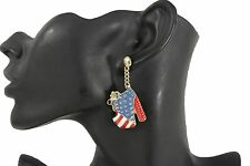 Platforms Shoes Earrings Fashion Jewelry Cool New Women Gold Metal Usa Flag Pulp