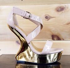 Luichiny Gear It Up Blush Patent Gold Heel Less Wedge Platform Shoe 6-10