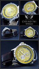 Luxury Complete Calendar -gmt -cavadini Watch Tachymeter Rotating Ring in Yellow