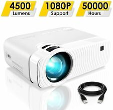 Portable Projector 4500 Lumens Full HD 1080p 180inch Display 50000 Hours White