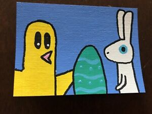Original ACEO Art Card - Chick, Rabbit, And Easter Egg - Acrylic Painting